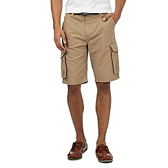 Maine New England - Big and tall beige belted cargo shorts