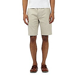 Maine New England - Big and tall beige textured check chino shorts