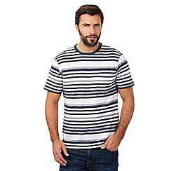Maine New England - Big and tall navy wide striped print crew neck t-shirt