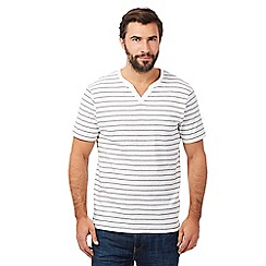 Maine New England - Big and tall white stripe print notch neck top