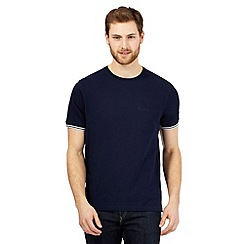 Maine New England - Navy textured tipped cuff t-shirt