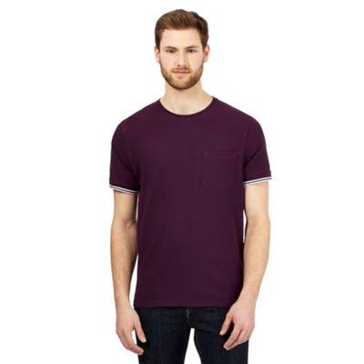 aine New England Dark purple textured tipped cuff t-shirt - . -