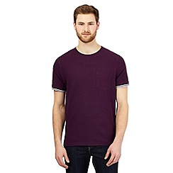 Maine New England - Dark purple textured tipped cuff t-shirt