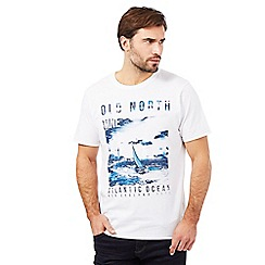 Maine New England - Big and tall white 'Atlantic ocean' print t-shirt