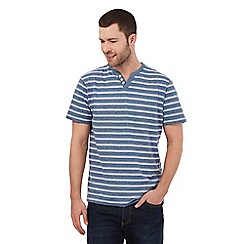 Maine New England - Blue striped print notch neck