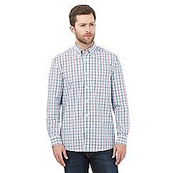 Maine New England - Big and tall Aqua Tri Colour Gingham Long sleeve shirt