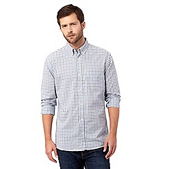Maine New England - Big and tall Light Blue grindle check long sleeve shirt