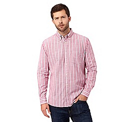Maine New England - Big and tall Pink Slub Stripe long sleeve shirt