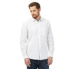 Maine New England - Big and tall white linen blend shirt