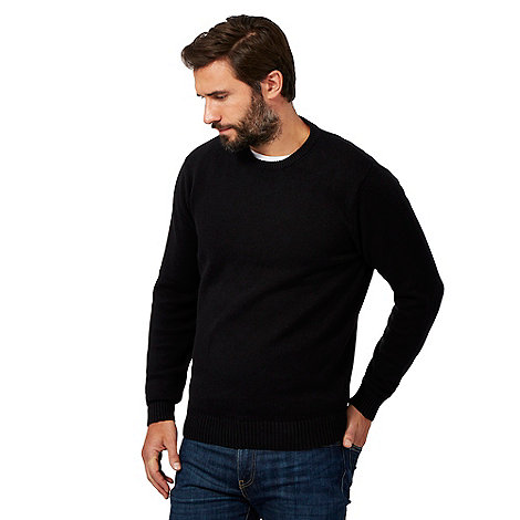 Maine New England - Big and tall black plain ribbed crew neck jumper