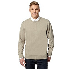 Maine New England - Big and tall natural plain ribbed crew neck jumper