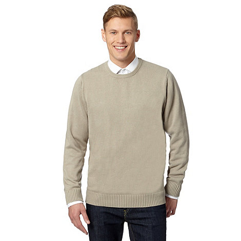 Maine New England - Natural plain ribbed crew neck jumper