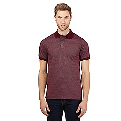 Maine New England - Dark red textured tailored polo shirt