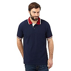 Maine New England - Big and tall navy contrast collar polo shirt