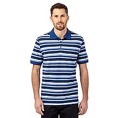 Maine New England - Blue textured stripe polo shirt