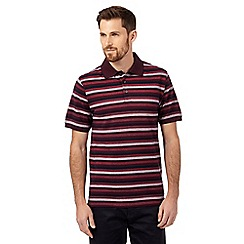 Maine New England - Dark red textured stripe polo shirt