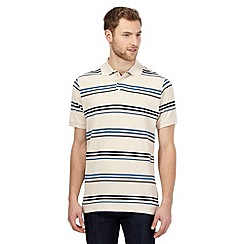 Maine New England - Big and tall beige striped polo shirt