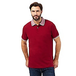 Maine New England - Big and tall dark red jacquard collar polo shirt