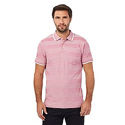 Maine New England - Pink textured stripe tailored fit polo shirt