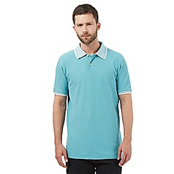 Maine New England - Big and tall aqua textured collar polo shirt
