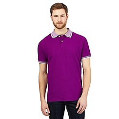 Maine New England - Purple textured collar polo shirt