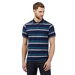 Maine New England - Navy herringbone striped polo shirt