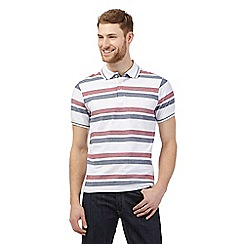 Maine New England - Big and tall white herringbone striped polo shirt