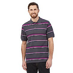 Maine New England - Big and tall dark grey striped print polo shirt