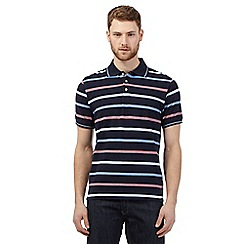 Maine New England - Big and tall navy birdseye striped polo shirt