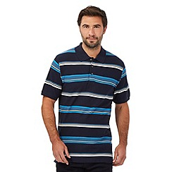 Maine New England - Navy striped print polo shirt