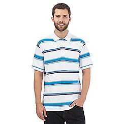 Maine New England - White striped print polo shirt