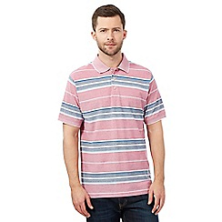 Maine New England - Big and tall red striped textured polo shirt