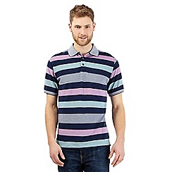 Maine New England - Big and tall dark blue striped print polo shirt
