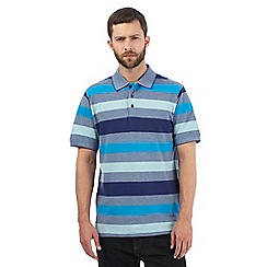 Maine New England - Big and tall bright blue striped polo shirt