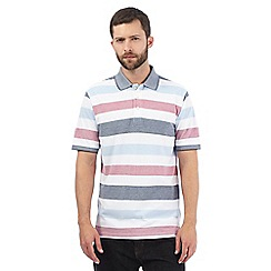 Maine New England - Big and tall white striped polo shirt