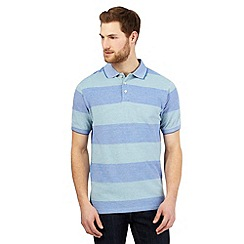 Maine New England - Green block striped print polo shirt