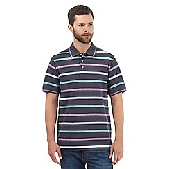 Maine New England - Big and tall grey striped print polo shirt