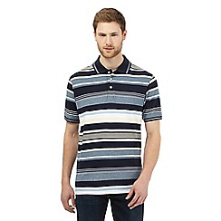 Maine New England - Big and tall navy striped print polo shirt