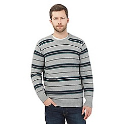 Maine New England - Big and tall grey striped crew neck jumper