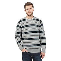 Maine New England - Grey striped crew neck jumper