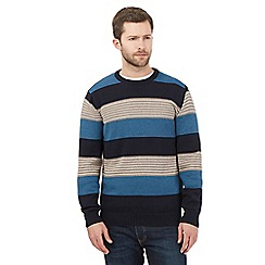 Maine New England - Navy striped crew neck jumper