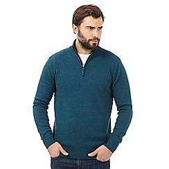 Maine New England - Big and tall turquoise high neck sweater