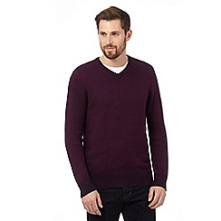 Maine New England - Big and tall purple birdseye v neck jumper
