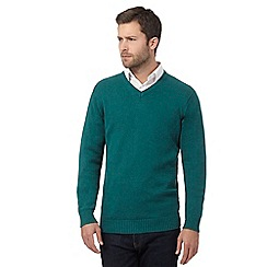 Maine New England - Big and tall green v neck jumper