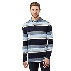 Maine New England - Big and tall pale blue striped rugby shirt