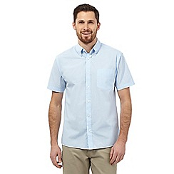 Maine New England - Big and tall Light Blue semi plain short sleeve shirt