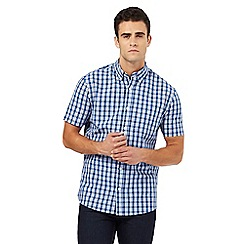 Maine New England - Blue regular check short sleeve shirt
