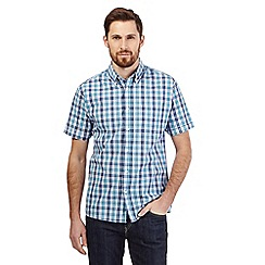 Maine New England - Turquoise Bold check short sleeve shirt
