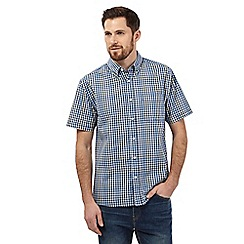 Maine New England - Big and tall navy gingham print shirt