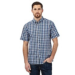Maine New England - Big and tall navy check print shirt